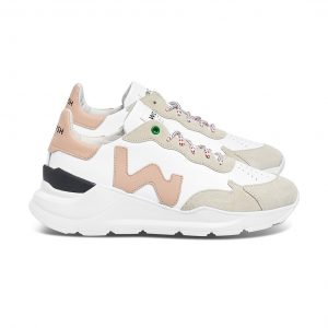 Vegan Wave White Rose sneaker van de zijkant