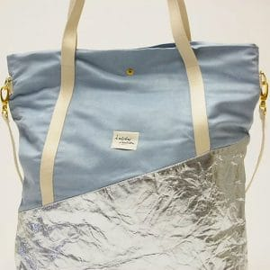 "Kaliber Fashion - Vegan Shopperbag ""love & soul"" /iceblue /pinatex detail"
