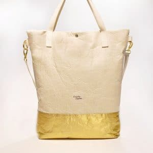 "Kaliber Fashion - Vegan Shopperbag ""PURE"" natural gold / pinatex voorkant"