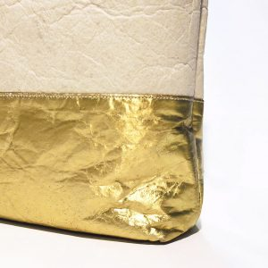 "Kaliber Fashion - Vegan Shopperbag ""PURE"" natural gold / pinatex detail"